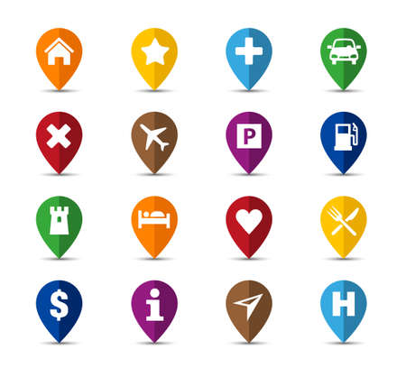 Collection of navigation icons - pins for maps