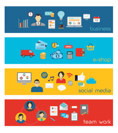 business work: Banners illustrating business, social media and team work