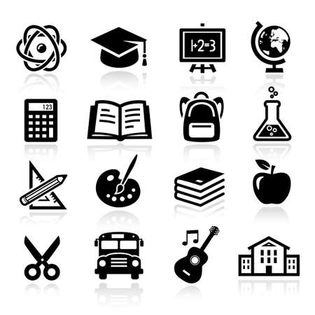 Collection of icons representing education, school and students