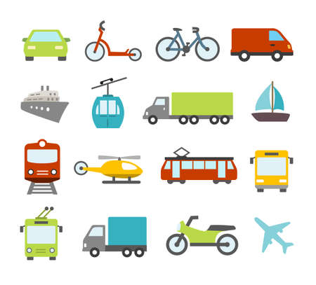 運輸: 圖標收集有關交通運輸類,汽車和各種車輛 向量圖像