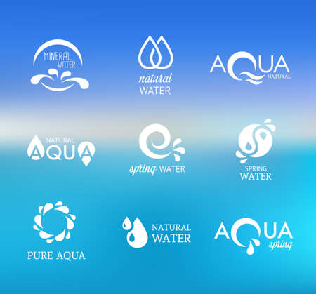 wellness environment: Collection of icons representing water and nature
