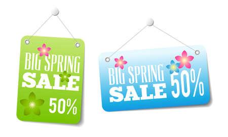 春の web または印刷やショップのウィンドウ装飾の販売ラベル。価格のタグとして使用できます。  イラスト・ベクター素材