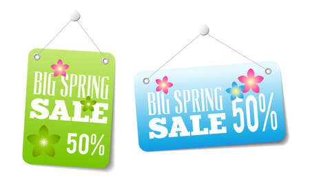 Spring sales labels for web or print or shop window decoration. Can be used as price tags. Vectores