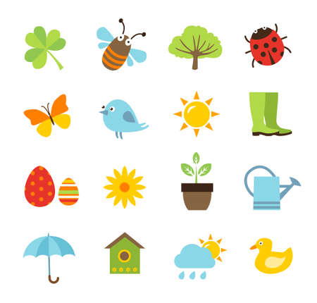 april flowers: Collection of spring icons Illustration