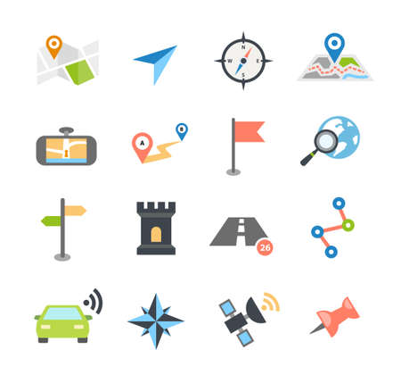 map icon: Collection of navigation icons - arrows, pointers and navigational equipment. Can be used for maps, plans, mobile apps. Usable for web or print.