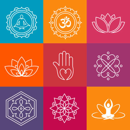 Collection of yoga icons and relaxation symbols
