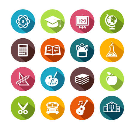 education icons: Collection of education icons in flat design