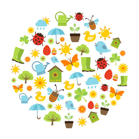 freshness: Cute spring background with icons representing spring activities, nature and fresshness.