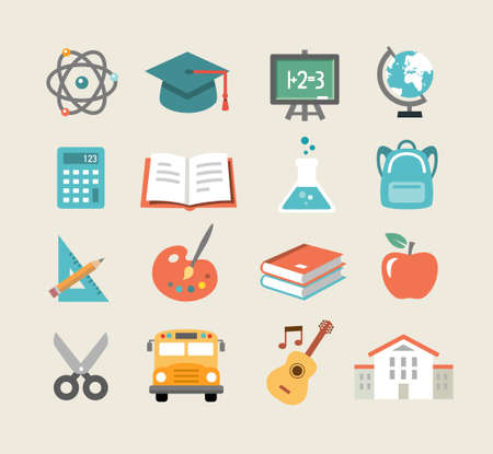 high school: Collection of education icons in flat design