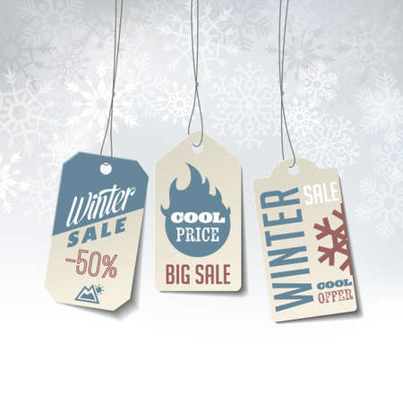 Winter sales labels on an elegant winter background made of snowflakes Illustration