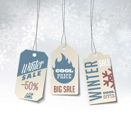 verkoop Winter labels op een elegante winter achtergrond van sneeuwvlokken