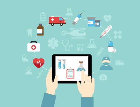 mobile apps: Medical background, infographics. Using mobile apps to track your condition or for wrting medical reports. Illustration