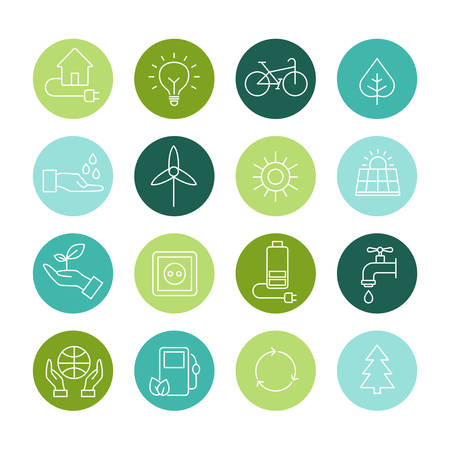 energies: Set of icons representing ecology, environment, renewable energies, nature conservation. Infographic modern thin lines vector design.