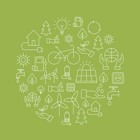 エコロジー バック グラウンド環境、再生可能エネルギー、自然環境保全を表すアイコンで作られています。インフォ グラフィック モダンな細い線