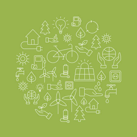 Ecology background made of icons representing the environment, renewable energies, nature conservation. Infographic modern thin lines vector design.