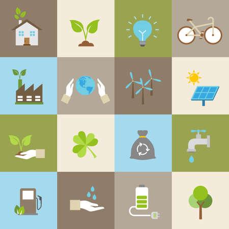desarrollo sustentable: Iconos de la ecología, la protección del medio ambiente, el desarrollo sostenible. Vectores