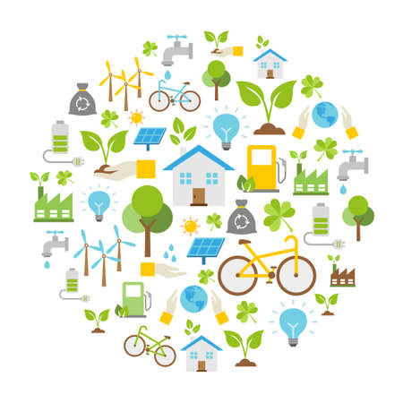 Vector Background - Ecology icons, protection of the environment.  イラスト・ベクター素材