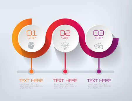 ilustracion: Tres pasos infografía - pueden ilustrar una estrategia, flujo de trabajo o equipo de trabajo.