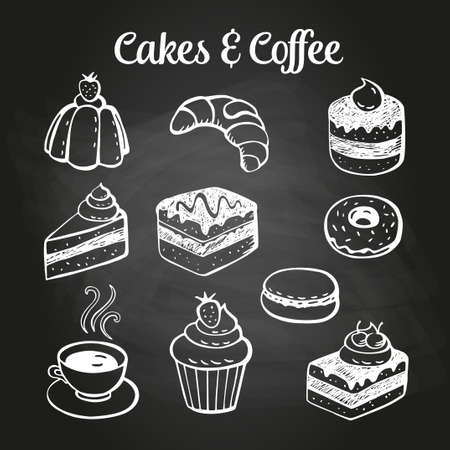 Coffee and desserts doodles on a chalkboard. Can be used as menu board for restaurant or bars. Vectores