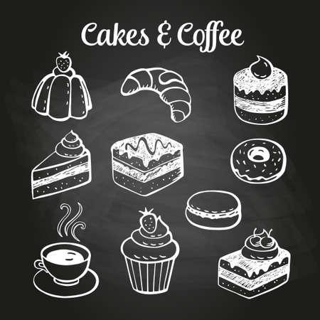 Koffie en desserts krabbels op een schoolbord. Kan worden gebruikt als menu bord voor restaurant of bars.