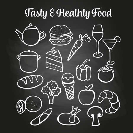 caf: Food doodles on a chalkboard. Can be used to illustrate restaurant menus or advertising leaflets. Illustration