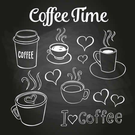 caf: Coffee doodles on a chalkboard. Can be used as menu board for restaurant or bars.