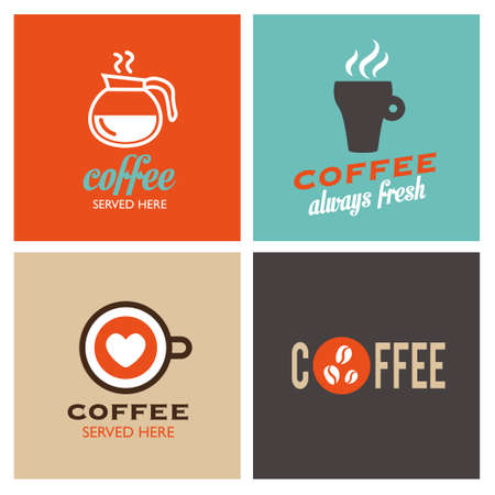caf: Retro coffee icons - labels. Vintage coffee poster. Illustration