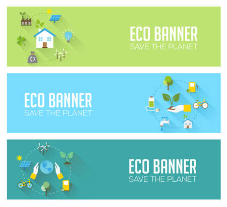 sustainable development: Eco banners - ecology, renewable energy, nature protection, sustainable development. Modern flat design style, vector concept.