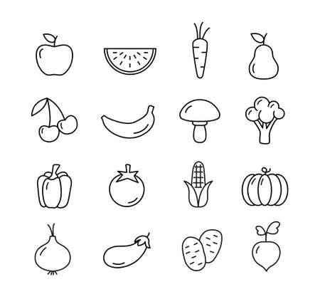 raddish: Fruit and vegetables icons set - flat design. Healthy lifestyle. Eco, organic fruit and vegetables.