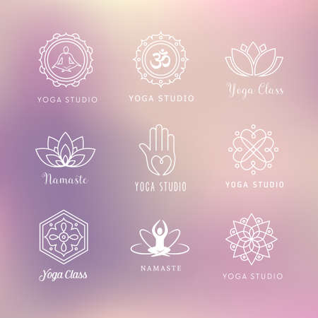 Collection of vector yoga icons - symbols. Meditation, relaxation, wellness. 일러스트