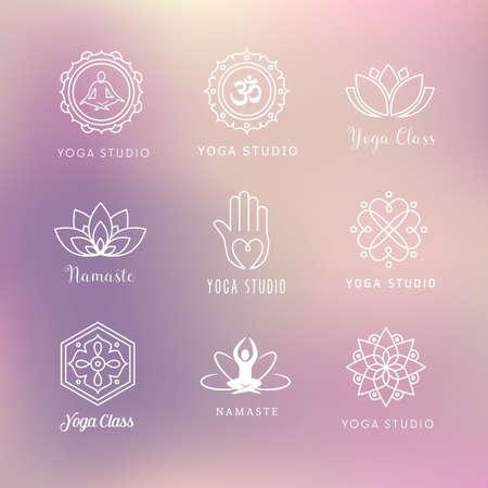 armonia: Colección de iconos del vector de yoga - símbolos. La meditación, relajación, bienestar.