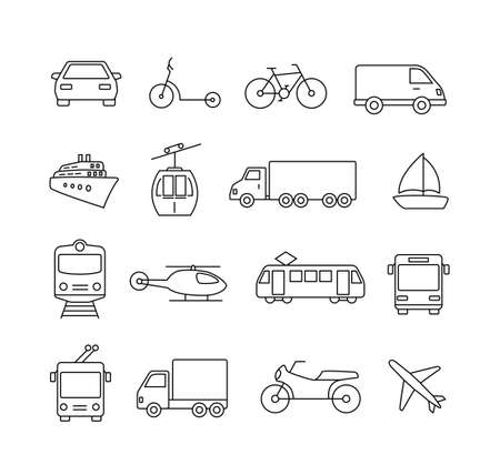 Collection of icons representing cars, vehicles, transportation, travel. Illustration