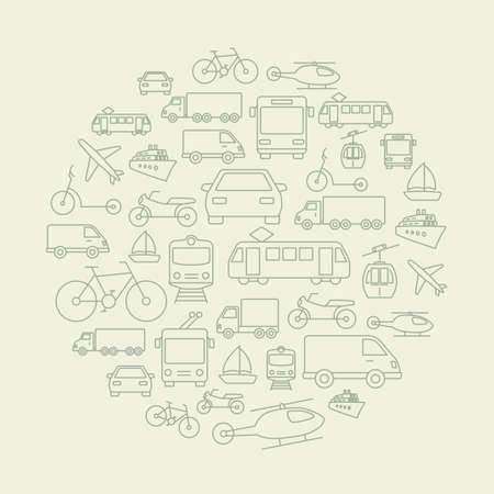 Background made of icons related to trasportation, cars and various vehicles