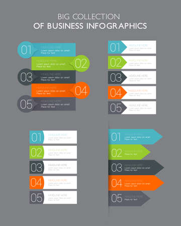 Big collection of five steps business infographics - can illustrate a strategy, workflow or team work. Illustration