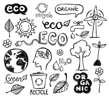エコとオーガニックいたずら書き - アイコン。エコロジー、持続可能な開発、自然保護。  イラスト・ベクター素材