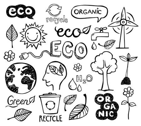 business environment: Eco and organic doodles - icons. Ecology, sustainable development, nature protection.
