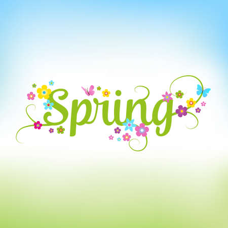 Spring background with flowers. Can also be used as a sales poster. Seasonal vector illustration with typographical lettering. Illustration