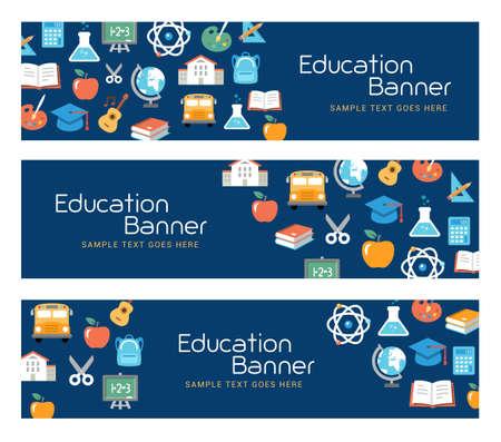 banner Education, e-learning, attività scolastiche. stile di design piatto.