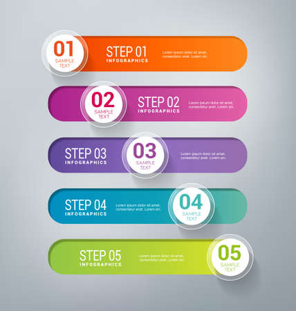 illustrate: Five steps infographics - can illustrate a business strategy, workflow, brainstorming process, progress, success.