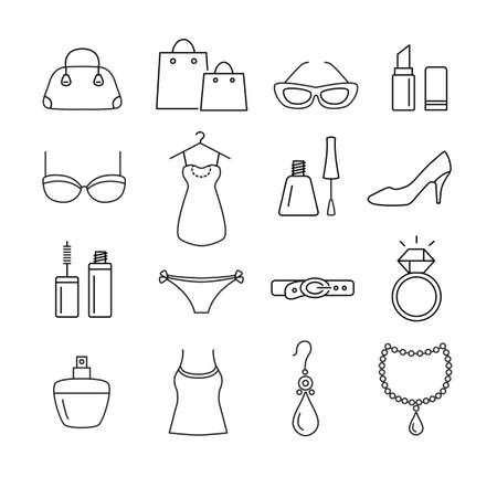 Collection of icons - ladies shopping, cosmetics, beauty, fashion. Thin line design style.