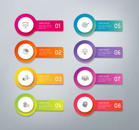 3D infographics buttons with business icons. Can be used for presentations to mark options, workflow, progress, success.