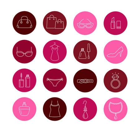 Collection of lady shopping icons. Beauty, fashion, luxury, modern accesories.