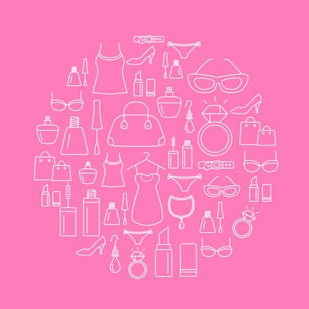 Ladies shopping icons - background. Beauty, fashion, luxury, modern accessories.