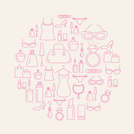 lady: Ladies shopping icons - background. Beauty, fashion, luxury, modern accessories.