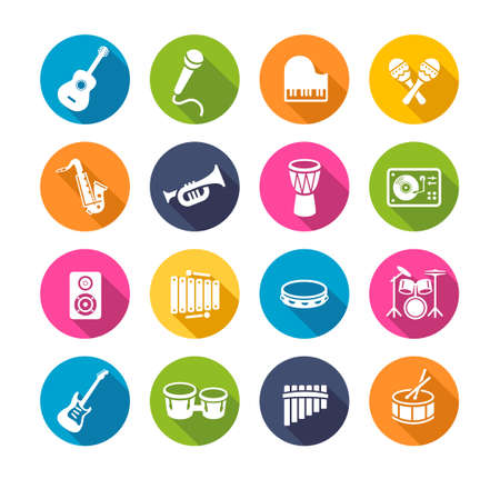 Collection of musical instruments icons. Can be used on print materials or on websites with subjects related to music, dance, singing, concerts or playing musical instruments. Flat design style. Illustration