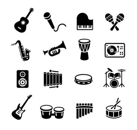Collectie muziekinstrumenten iconen. Kan gebruikt worden op drukwerk of op websites met onderwerpen die verband houden met muziek, dans, zang, concerten of het spelen van muziekinstrumenten. Stock Illustratie