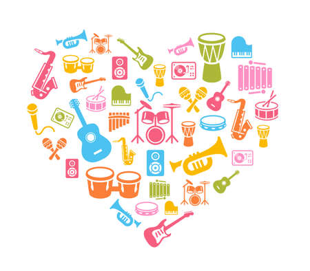 I Love Music - musical instruments icons - wallpaper. Can be used on print materials or on websites with subjects related to music, dance, singing, concerts or playing musical instruments. Illustration