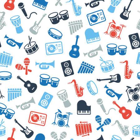 instruments de musique: Instruments de musique icônes - papier peint, seamless. Peut être utilisé sur des documents imprimés ou sur des sites Web avec des sujets liés à la musique, la danse, le chant, concerts ou jouer des instruments de musique. Illustration