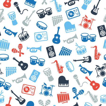 Musical instruments icons - wallpaper, seamless pattern. Can be used on print materials or on websites with subjects related to music, dance, singing, concerts or playing musical instruments. Illustration
