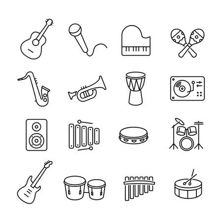 line dance: Collection of musical instruments icons. Can be used on print materials or on websites with subjects related to music, dance, singing, concerts or playing musical instruments.